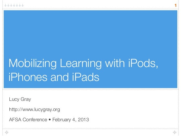 Mobilizing Learning with iPods, iPhones and iPads Lucy Gray http://www.lucygray.org AFSA Conference • February 4, 2013 1