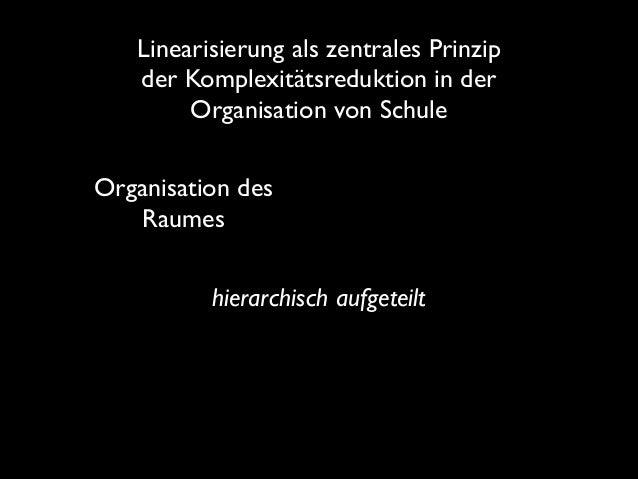 Linearisierung als zentrales Prinzip der Komplexitätsreduktion in der Organisation von Schule Organisation des Raumes hie...