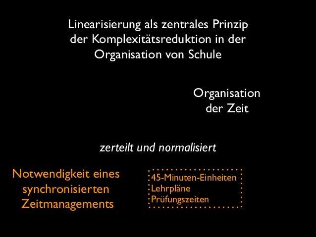 Linearisierung als zentrales Prinzip der Komplexitätsreduktion in der Organisation von Schule Organisation der Zeit zerte...