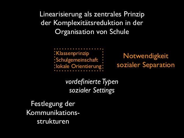 Linearisierung als zentrales Prinzip der Komplexitätsreduktion in der Organisation von Schule Klassenprinzip  Schulgemei...