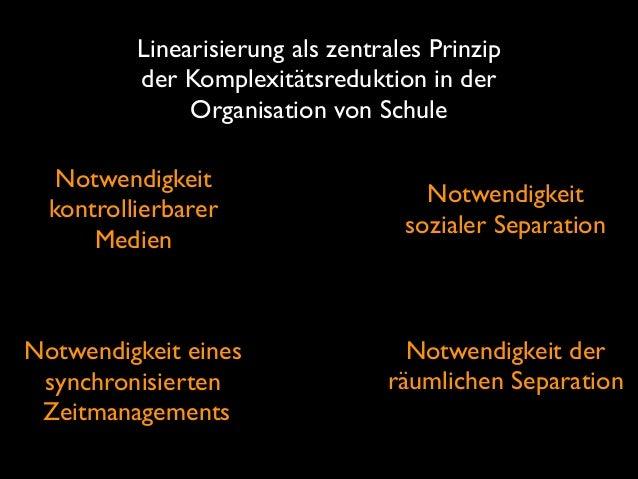 Linearisierung als zentrales Prinzip der Komplexitätsreduktion in der Organisation von Schule Notwendigkeit kontrollierb...