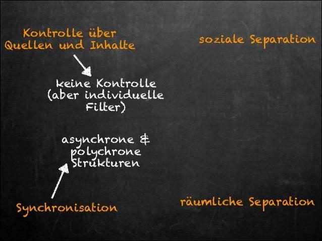 Kontrolle über Quellen und Inhalte  soziale Separation  keine Kontrolle  (aber individuelle Filter) asynchrone & polychro...