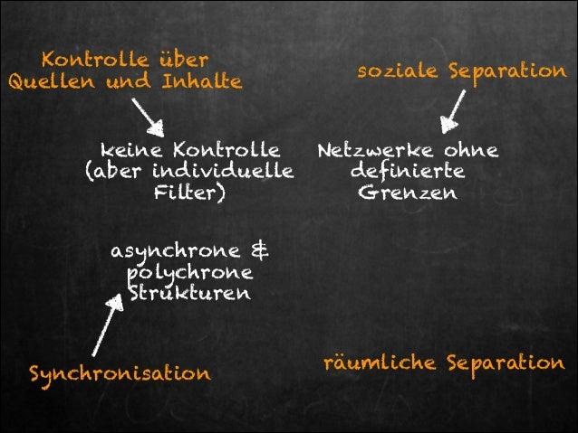 Kontrolle über Quellen und Inhalte keine Kontrolle  (aber individuelle Filter)  soziale Separation  Netzwerke ohne defini...