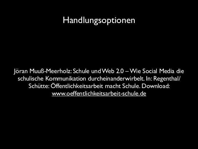 Handlungsoptionen  Jöran Muuß-Meerholz: Schule und Web 2.0 – Wie Social Media die schulische Kommunikation durcheinanderwi...