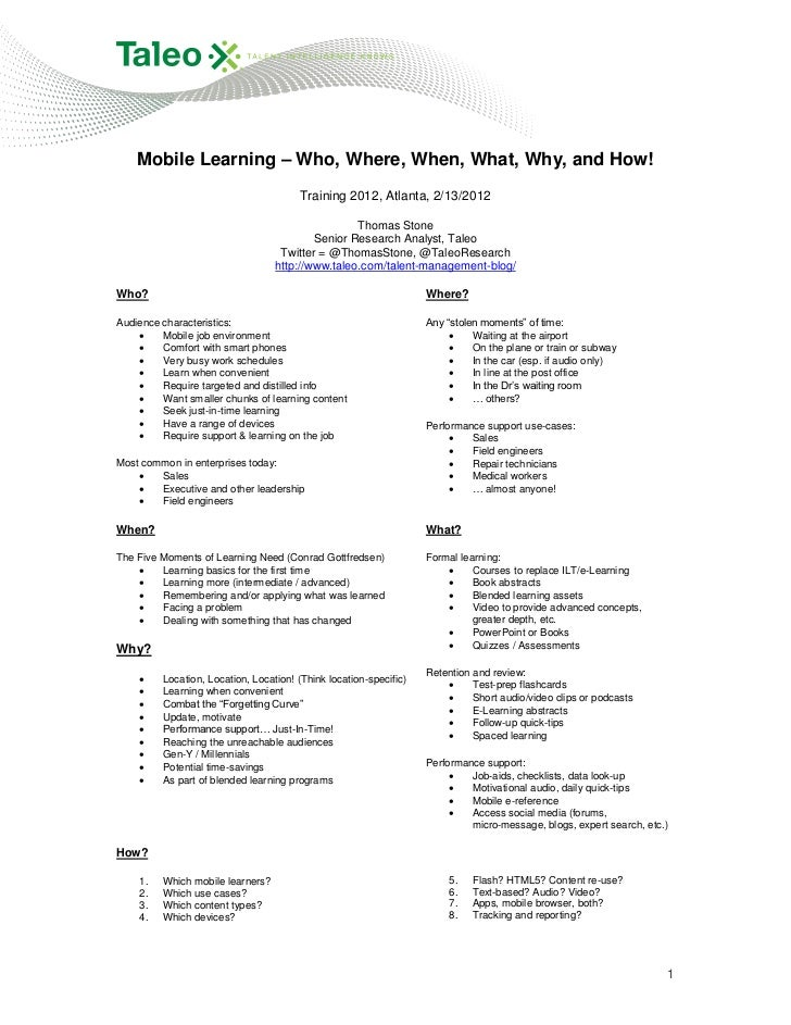 Mobile Learning – Who, Where, When, What, Why, and How!                                       Training 2012, Atlanta, 2/13...