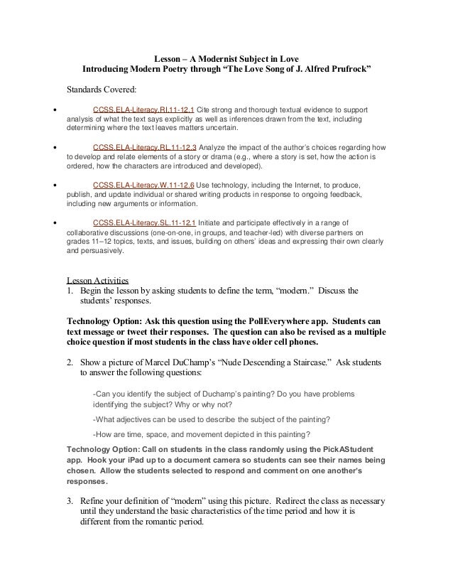 Introduction To Modernist Poetry Prufrock Analysis Worksheet ...