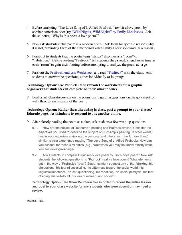 """MILLENNIALS: Tuesday, June 2 """"Prufrock"""" analysis worksheet day 1"""