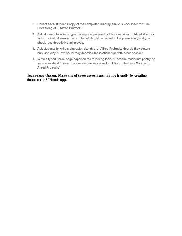 Worksheet Prufrock Analysis Brunokone Study Site The Lovesong Of ...