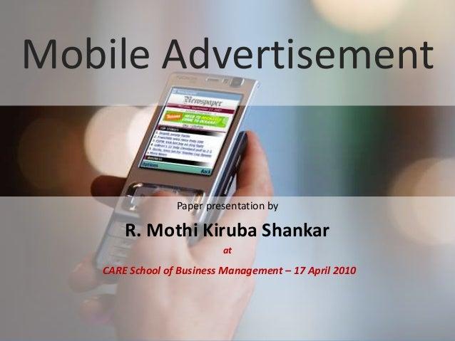 www.edventures1.com | training@edventures1.com | +91-9787-55-55-44 Mobile Advertisement Paper presentation by R. Mothi Kir...