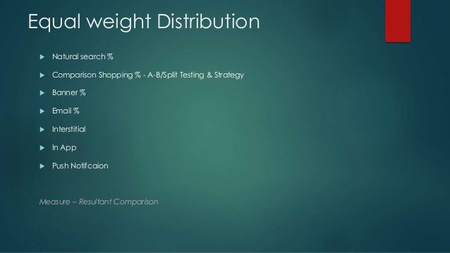 Equal weight Distribution  Natural search %  Comparison Shopping % - A-B/Split Testing & Strategy  Banner %  Email % ...