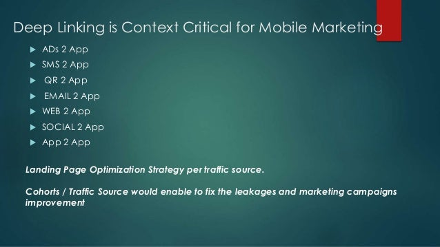 Deep Linking is Context Critical for Mobile Marketing  ADs 2 App  SMS 2 App  QR 2 App  EMAIL 2 App  WEB 2 App  SOCIA...