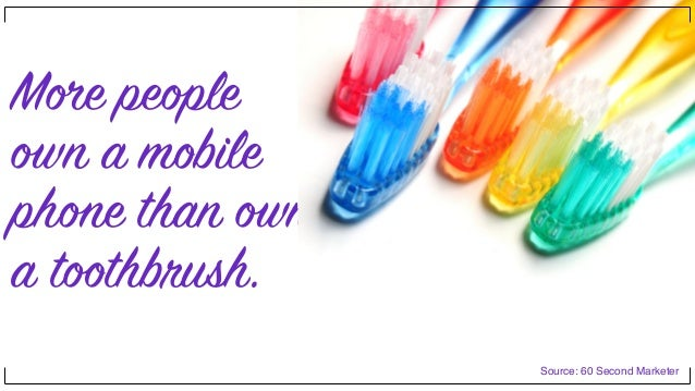 More people own a mobile phone than own a toothbrush. Source: 60 Second Marketer