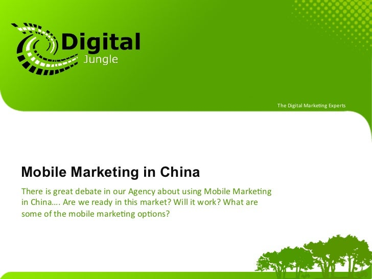 The Digital Marke.ng Experts Mobile Marketing in ChinaThere is great debate in our Agency about us...