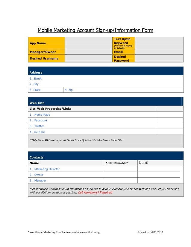 Mobile Marketing Account Sign-up/Information Form                                                                    Text ...