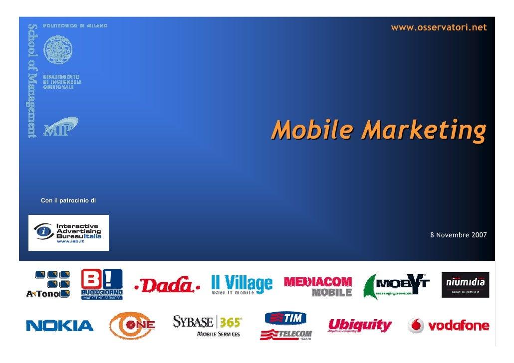 www.osservatori.net                            Mobile Marketing  Con il patrocinio di                                     ...
