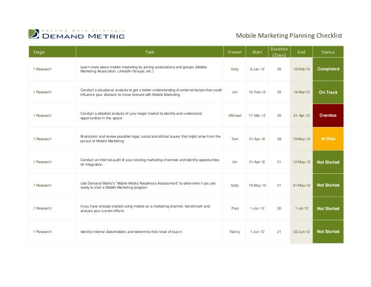 Mobile Marketing Planning Checklist                                                                                       ...