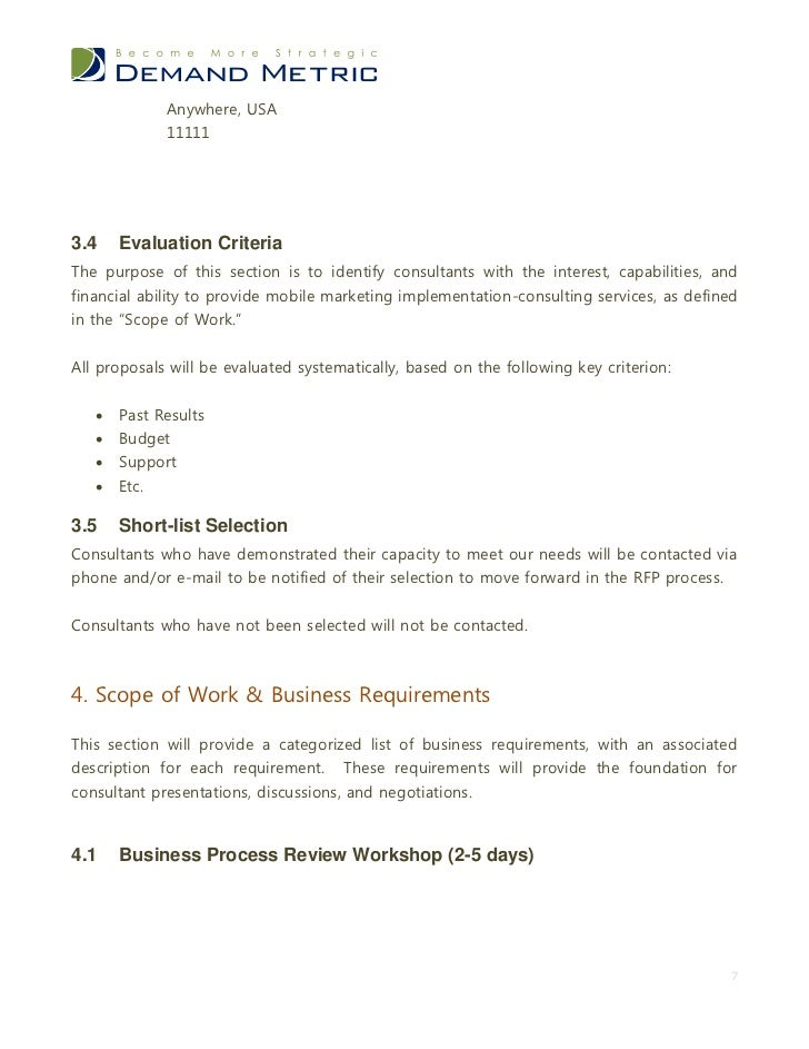 marketing scope of work template - mobile marketing rfp template