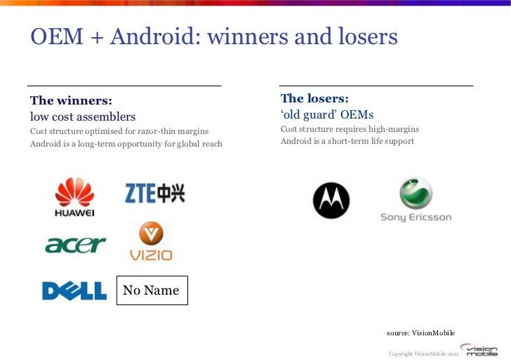 OEM + Android: winners and losersThe winners:                                          The losers:low cost assemblers     ...
