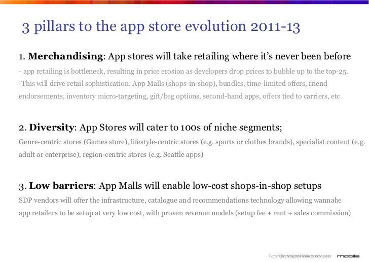 3 pillars to the app store evolution 2011-131. Merchandising: App stores will take retailing where it's never been before-...