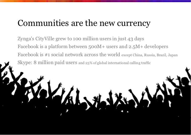 Communities are the new currencyZyngas CityVille grew to 100 million users in just 43 daysFacebook is a platform between 5...