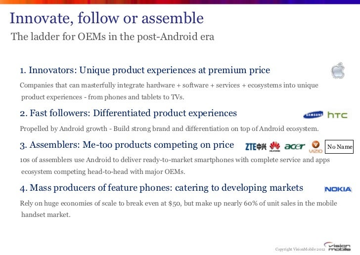 Innovate, follow or assembleThe ladder for OEMs in the post-Android era 1. Innovators: Unique product experiences at premi...