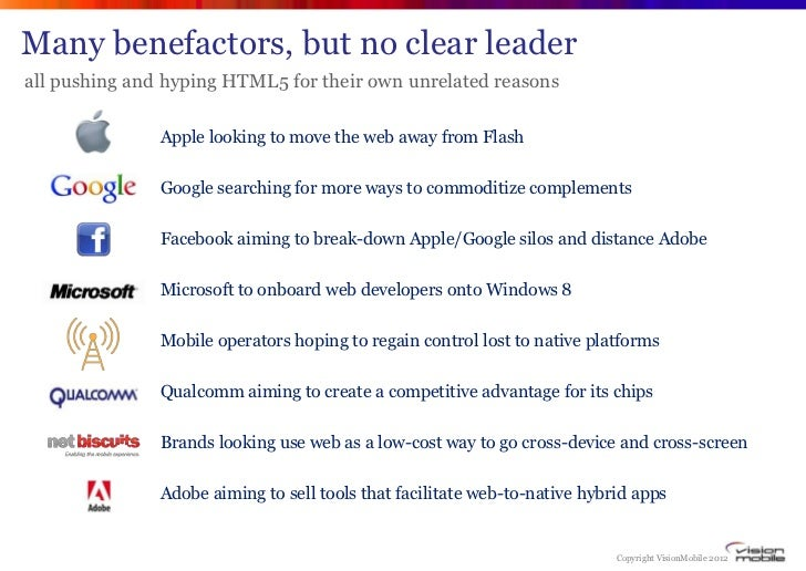 Many benefactors, but no clear leaderall pushing and hyping HTML5 for their own unrelated reasons               Apple look...