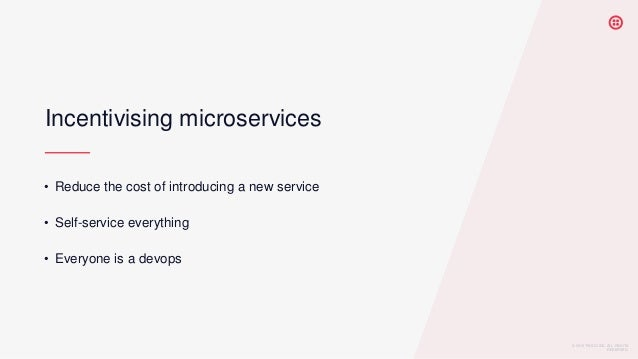 © 2019 TWILIO INC. ALL RIGHTS RESERVED. Incentivising microservices • Reduce the cost of introducing a new service • Self-...
