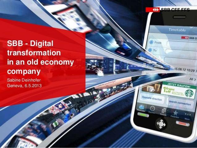 SBB - Digitaltransformationin an old economycompanySabine DeinhoferGeneva, 6.5.2013