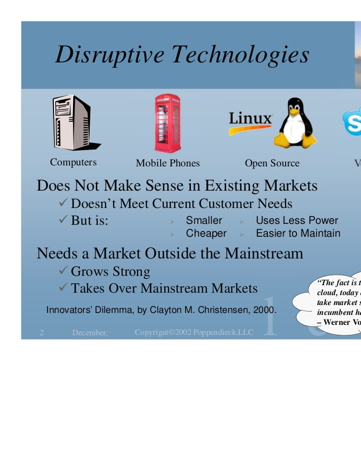 Disruptive Technologies    Computers           Mobile Phones                 Open Source               Voice Over IPDoes N...