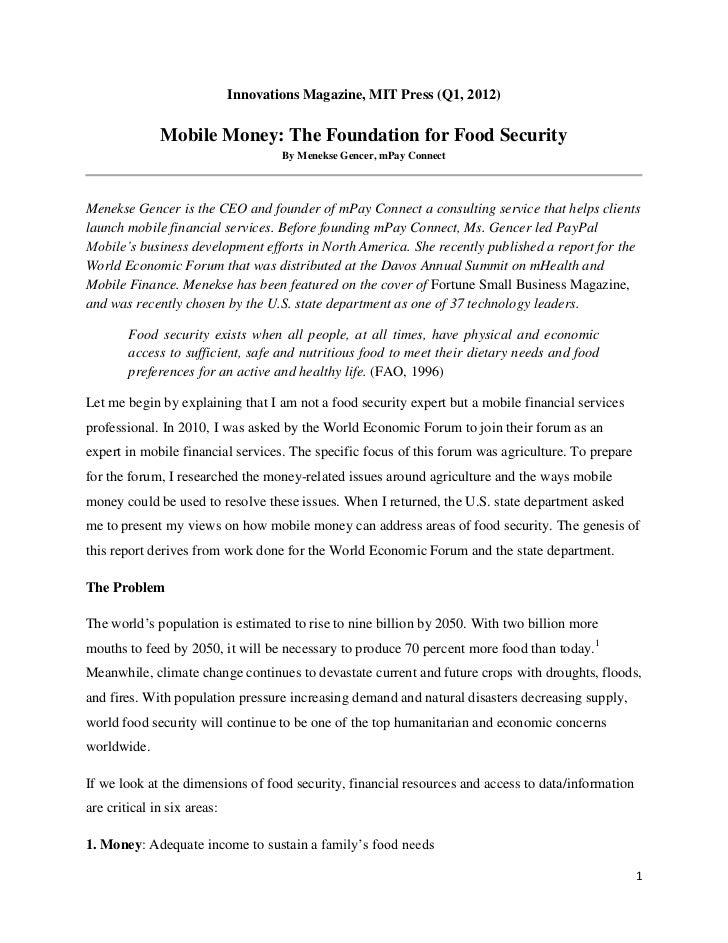 Innovations Magazine, MIT Press (Q1, 2012)              Mobile Money: The Foundation for Food Security                    ...