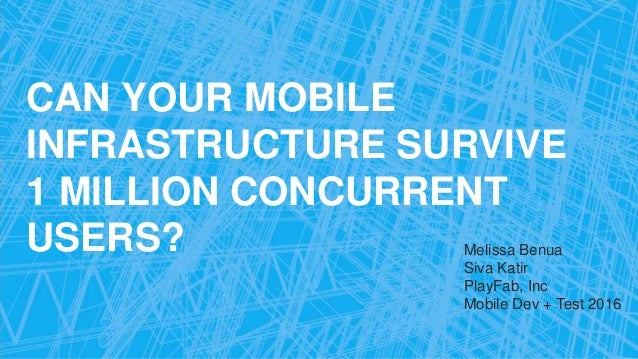 CAN YOUR MOBILE INFRASTRUCTURE SURVIVE 1 MILLION CONCURRENT USERS? Melissa Benua Siva Katir PlayFab, Inc Mobile Dev + Test...