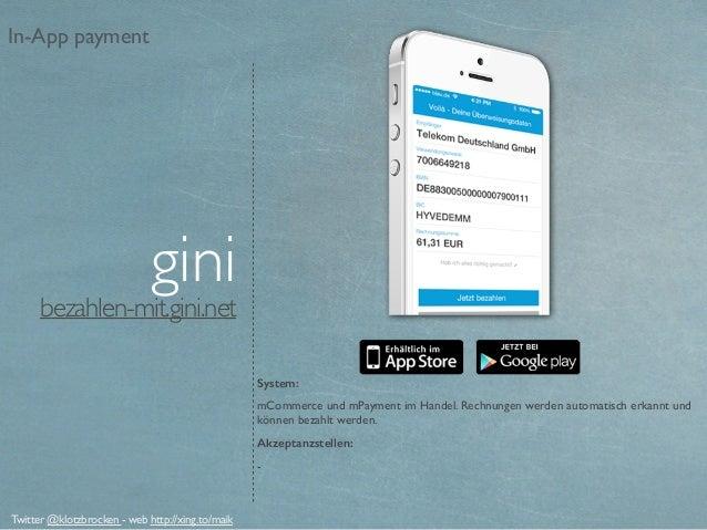 bezahlen-mit.gini.net System: mCommerce und mPayment im Handel. Rechnungen werden automatisch erkannt und können bezahlt w...