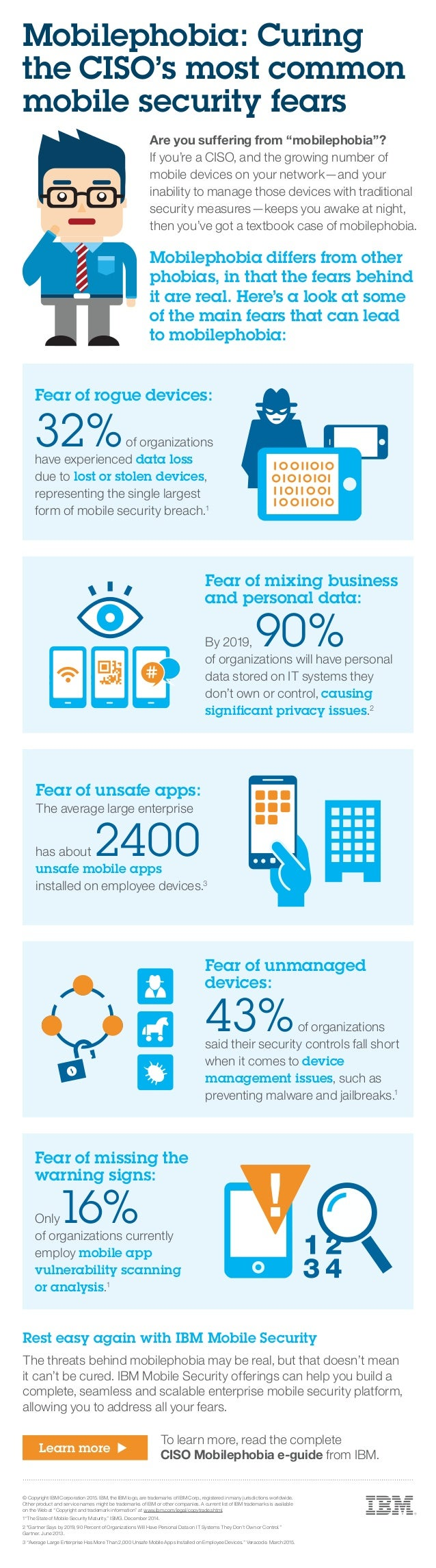 Rest easy again with IBM Mobile Security The threats behind mobilephobia may be real, but that doesn't mean it can't be cu...