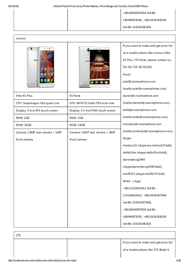 mobile phone price list by phone makers price range and country chin