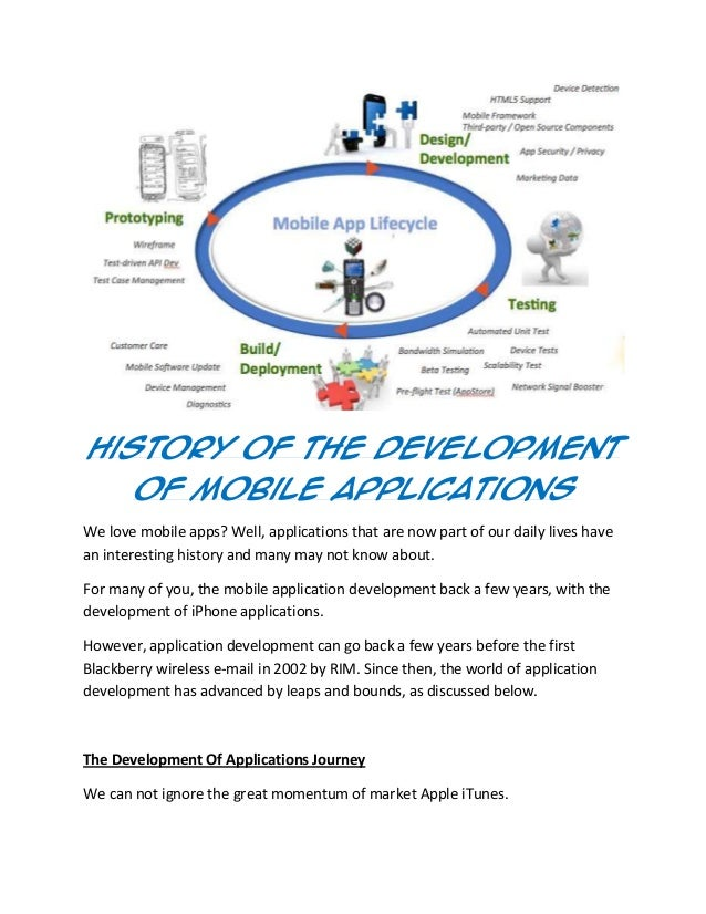 History Of The Development Of Mobile Applications We love mobile apps? Well, applications that are now part of our daily l...