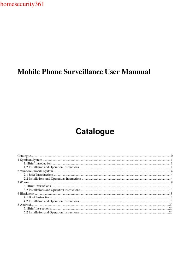 homesecurity361     Mobile Phone Surveillance User Mannual                                                                ...