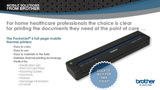 For home healthcare professionals the choice is clear for printing the documents they need at the point of care … The Pock...