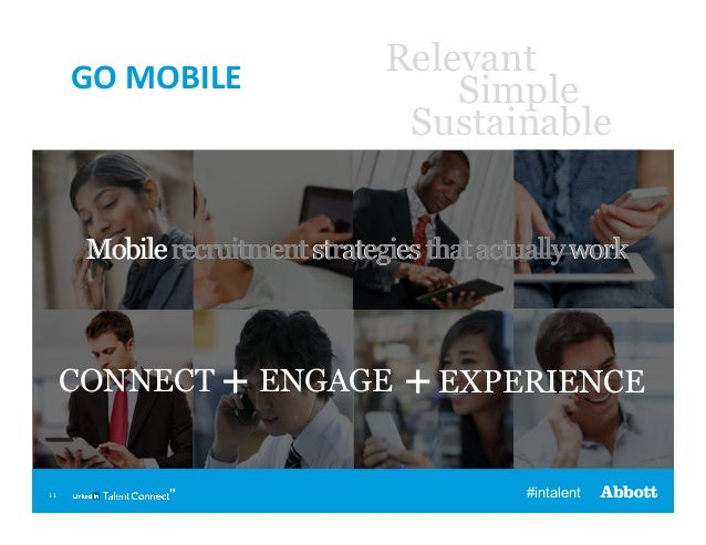 GO  MOBILE    Relevant Simple Sustainable  Mobile recruitment strategies that actually work  CONNECT + ENGAGE  11  + E...