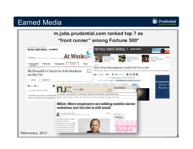 """Earned Media m.jobs.prudential.com ranked top 7 as """"front runner"""" among Fortune 500*  *iMomentus, 2013  #intalent 36"""