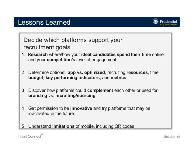 Lessons Learned Decide which platforms support your recruitment goals 1. Research where/how your ideal candidates spend t...