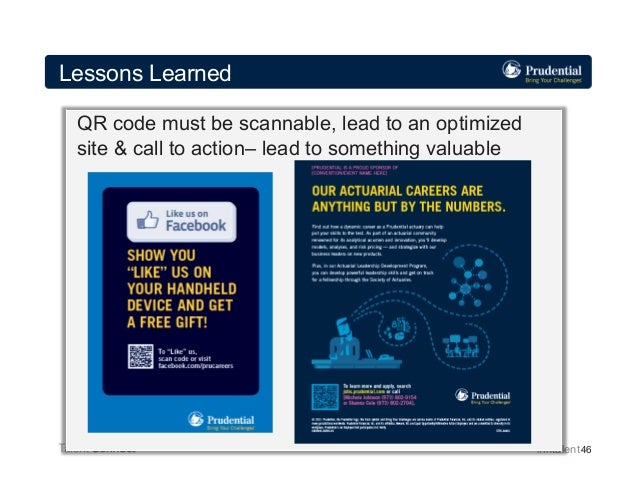Lessons Learned QR code must be scannable, lead to an optimized site & call to action– lead to something valuable  #intale...