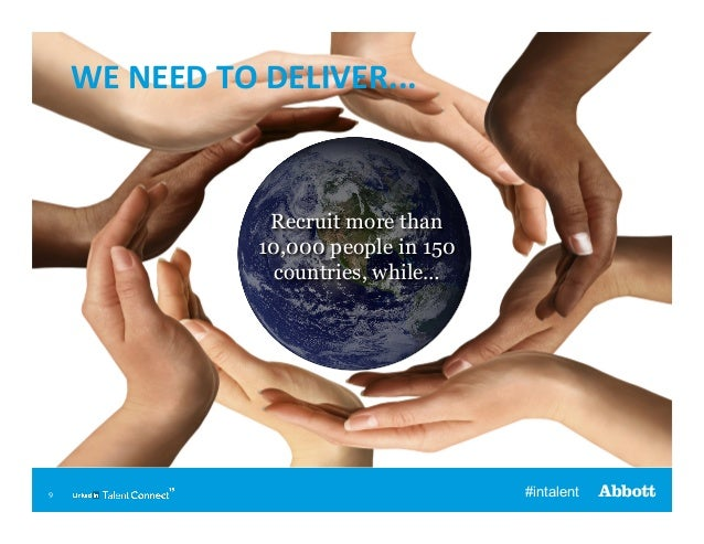 WE  NEED  TO  DELIVER...    Recruit more than 10,000 people in 150 countries, while…  9  #intalent