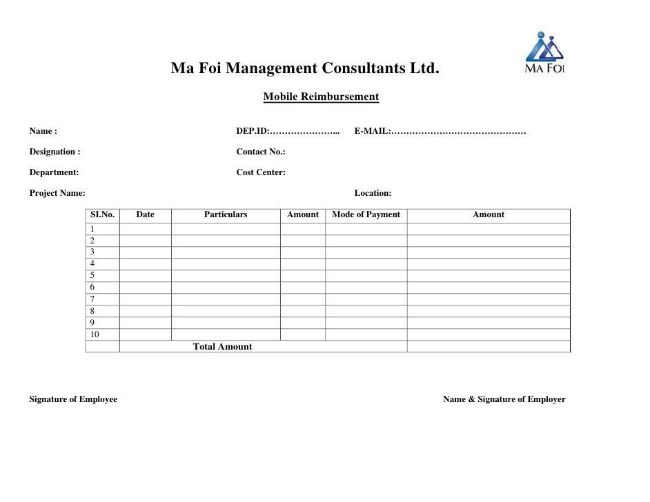 Mobile reimbursement form