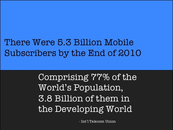 There Were 5.3 Billion MobileSubscribers by the End of 2010       Comprising 77% of the       World's Population,       3....