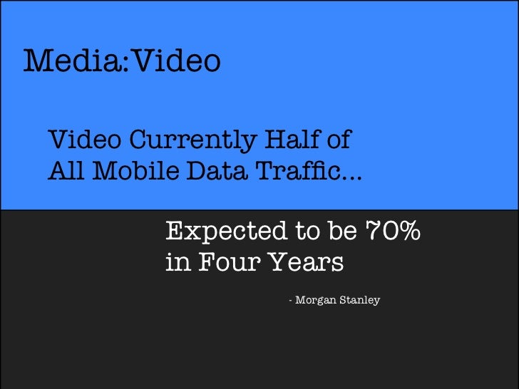 Media:Video Video Currently Half of All Mobile Data Traffic...          Expected to be 70%          in Four Years          ...