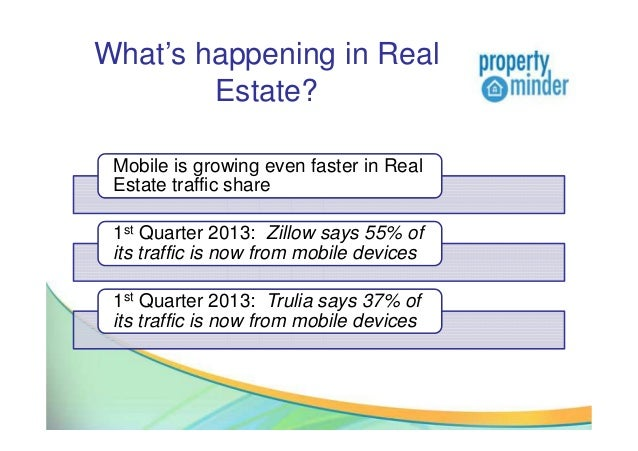 What's happening in RealEstate?Mobile is growing even faster in RealEstate traffic share1st Quarter 2013: Zillow says 55% ...