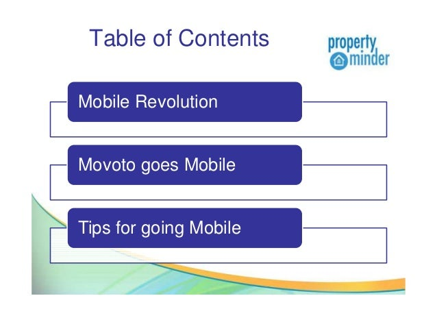 Table of ContentsMobile RevolutionMovoto goes MobileTips for going Mobile