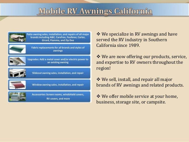 Mobile Rv Awnings San Diego