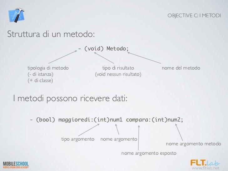 OBJECTIVE C: I METODIStruttura di un metodo:                           - (void) Metodo;     tipologia di metodo           ...
