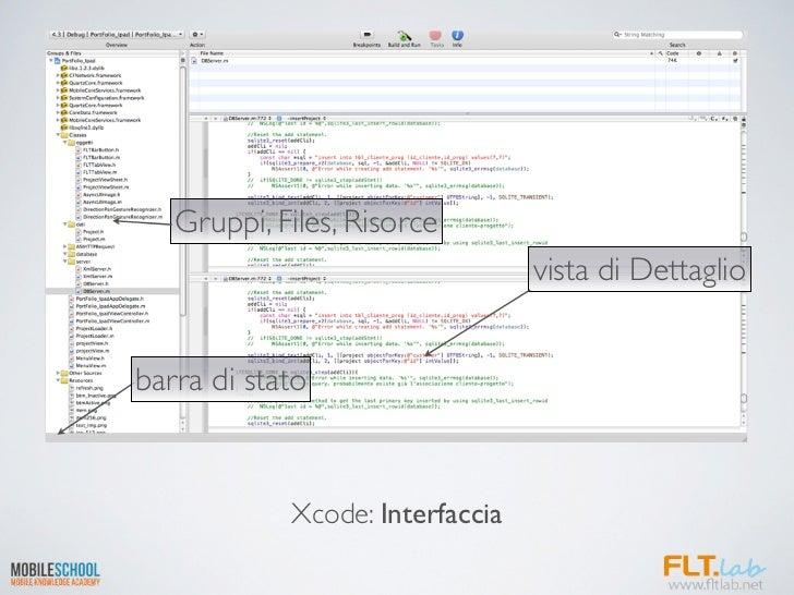 Gruppi, Files, Risorce                                 vista di Dettagliobarra di stato            Xcode: Interfaccia